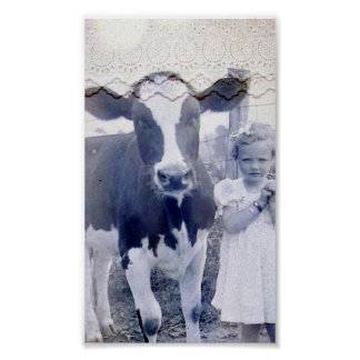 Vintage Child and Cow Poster