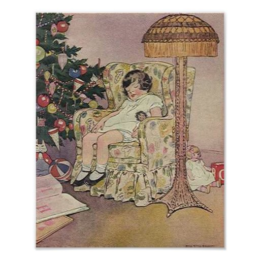 Vintage Child and Tree Christmas Card Posters