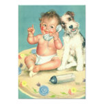 Vintage Child Birthday Party, Puppy Dog Telephone Custom Announcements