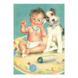 Vintage Child Birthday Party, Puppy Dog Telephone Personalized Announcement