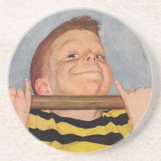 Vintage Child, Boy Doing Chin Ups, Exercise Sports Coaster