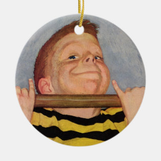 Vintage Child, Boy Doing Chin Ups, Exercise Sports Christmas Tree Ornaments