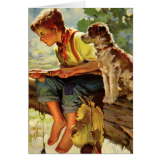 Vintage Child, Boy Fishing with His Pet Dog Mutt Greeting Card