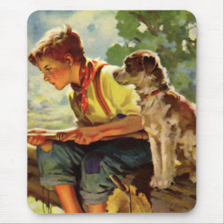 Vintage Child, Boy Fishing with His Pet Dog Mutt Mousepad