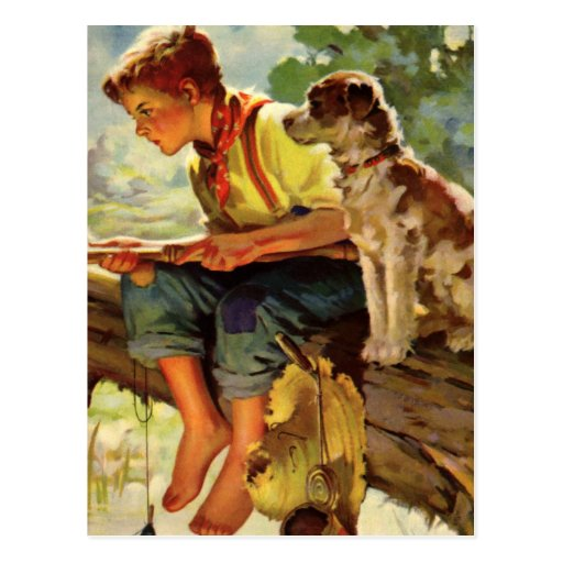 Vintage Child, Boy Fishing with His Pet Dog Mutt Postcards