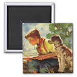 Vintage Child, Boy Fishing with His Pet Dog Mutt Square Magnet