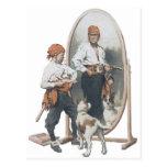 Vintage Child, Boy Pirate, Dog, Mirror, Buccaneer Post Card