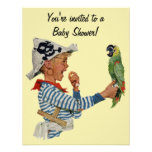 Vintage Child, Boy Pirate Parrot, Baby Shower Custom Invites