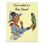 Vintage Child, Boy Pirate Parrot Bird, Baby Shower Custom Invites