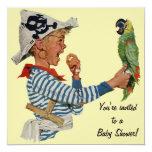 Vintage Child, Boy Pirate Parrot Bird, Baby Shower Custom Invitation