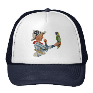 Vintage Child, Boy Playing Pirate Parrot Bird Cap
