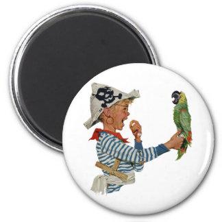 Vintage Child, Boy Playing Pirate Parrot Bird 6 Cm Round Magnet