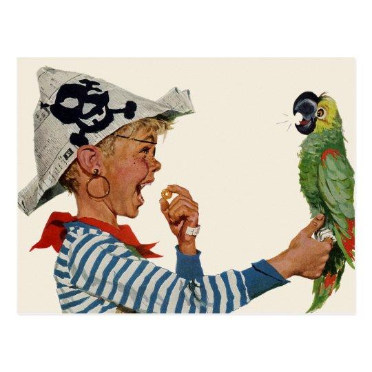 Vintage Child, Boy Playing Pirate Parrot Bird Postcard