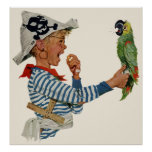 Vintage Child, Boy Playing Pirate Parrot Bird Poster