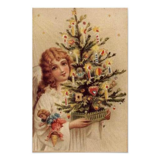 Vintage Child Carrying Tree Card Posters
