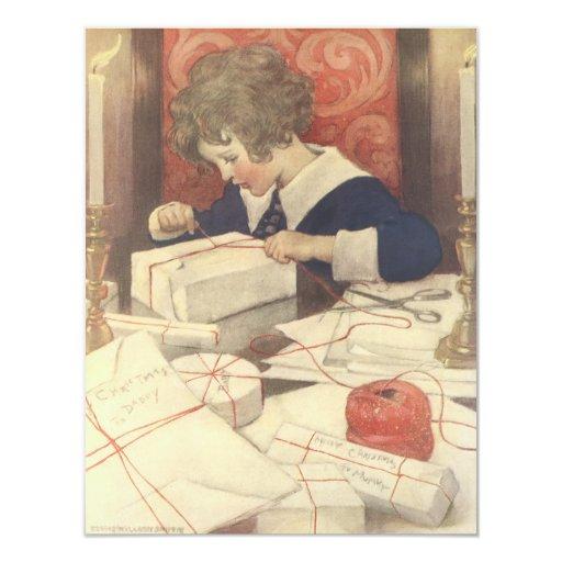 Vintage Child, Christmas Eve, Jessie Willcox Smith 11 Cm X 14 Cm Invitation Card