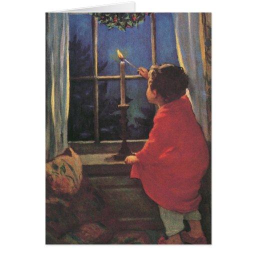 Vintage Child, Christmas Eve, Jessie Willcox Smith Greeting Cards
