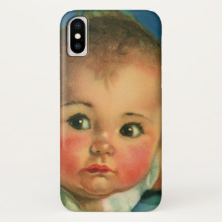 Vintage Child, Cute Baby Boy or Girl in Highchair iPhone X Case