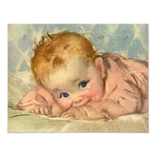 Vintage Child Cute Baby Girl on Blanket Invitation