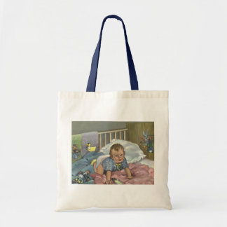 Vintage Child, Cute Baby Playing in Crib, Nap Time Budget Tote Bag