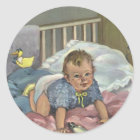 Vintage Child, Cute Baby Playing in Crib, Nap Time Classic Round Sticker