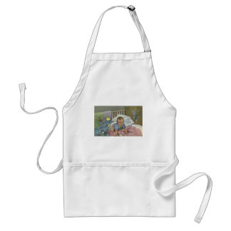 Vintage Child, Cute Baby Playing in Crib, Nap Time Standard Apron