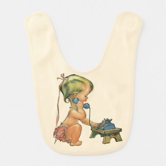 Vintage Child Cute Blond Girl Talking on Toy Phone Baby Bib