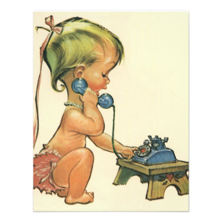 Vintage Child Cute Blond Girl Talking on Toy Phone Announcement