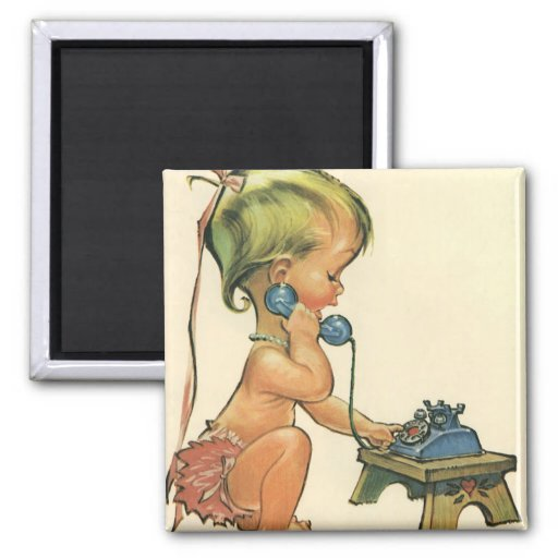 Vintage Child Cute Blond Girl Talking on Toy Phone Fridge Magnet