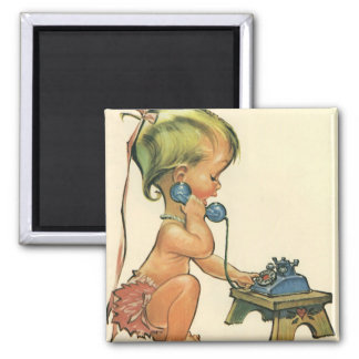 Vintage Child Cute Blonde Girl Talking on Toy Square Magnet
