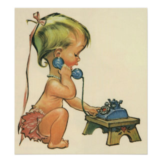 Vintage Child Cute Blonde Girl Talking on Toy Phon Poster