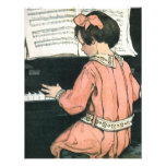 Vintage Child, Girl Playing Piano Birthday Party Personalised Announcement