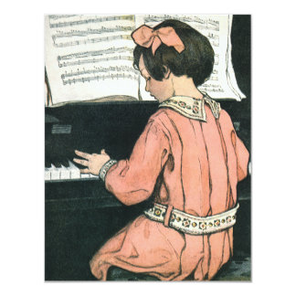 Vintage Child, Girl Playing Piano Birthday Party 11 Cm X 14 Cm Invitation Card