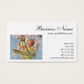 Vintage Child, Girl Swinging on a Tree Swing Play Business Card