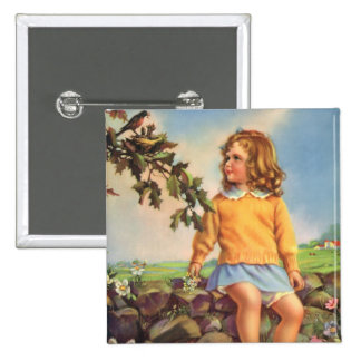 Vintage Child, Girl Watching Birds in Tree, Spring 15 Cm Square Badge