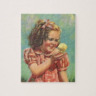 Vintage Child, Girl with Baby Easter Chick Jigsaw Puzzle