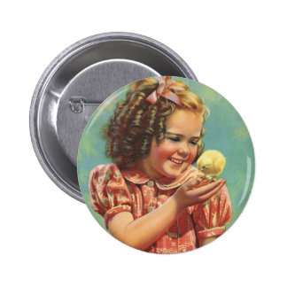 Vintage Child, Happy Smile, Girl with Baby Chick Pinback Button