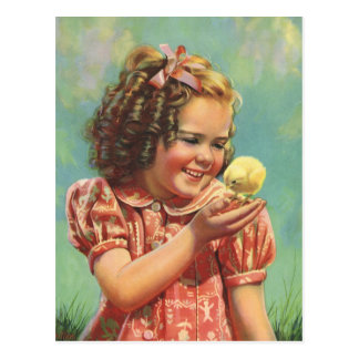 Vintage Child, Happy Smile, Girl with Baby Chick Postcard