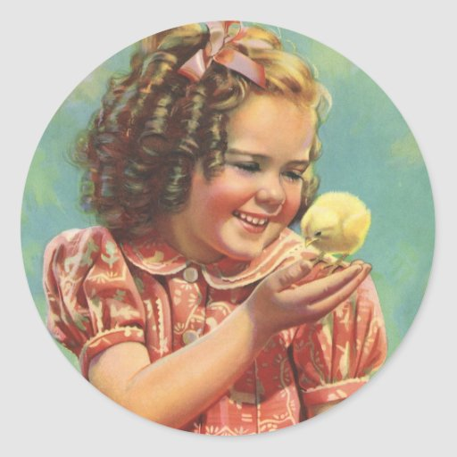 Vintage Child, Happy Smile, Girl with Baby Chick Stickers