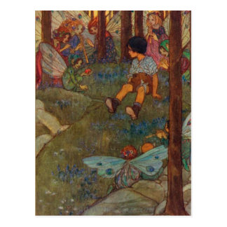 Vintage - Child Meets Woodland Fairies, Postcard