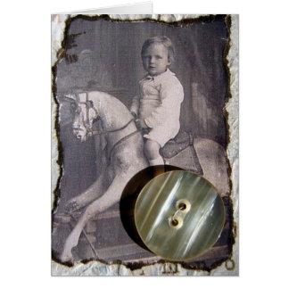 Vintage Child on Rocking Horse Mixed Media Cards