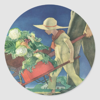 Vintage Child, Organic Gardening; Victory Garden Classic Round Sticker