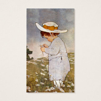 Vintage child picking daisy flowers business card