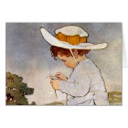 Vintage child picking daisy flowers card