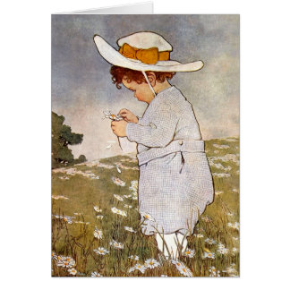 Vintage child picking daisy flowers greeting card
