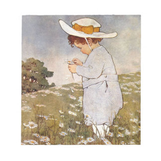 Vintage child picking daisy flowers notepad