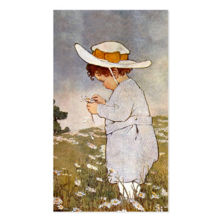 Vintage child picking daisy flowers pack of standard business cards