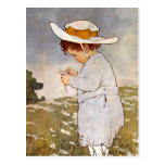 Vintage child picking daisy flowers postcard
