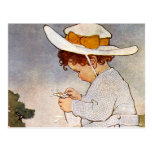 Vintage child picking daisy flowers postcard