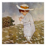 Vintage child picking daisy flowers poster